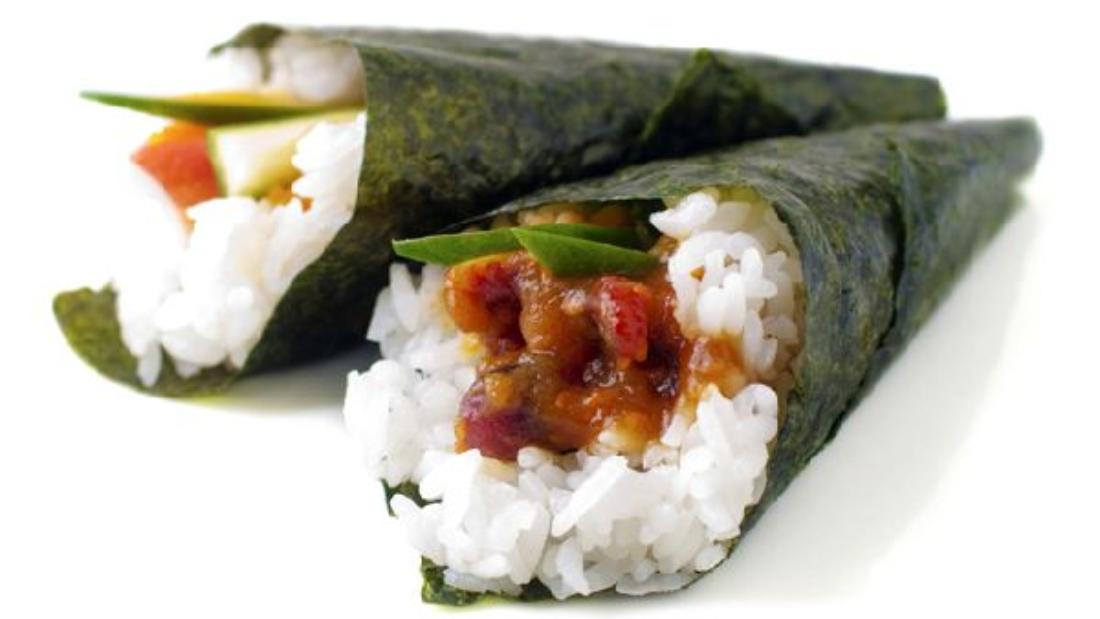 Hand rolled temaki sushi.